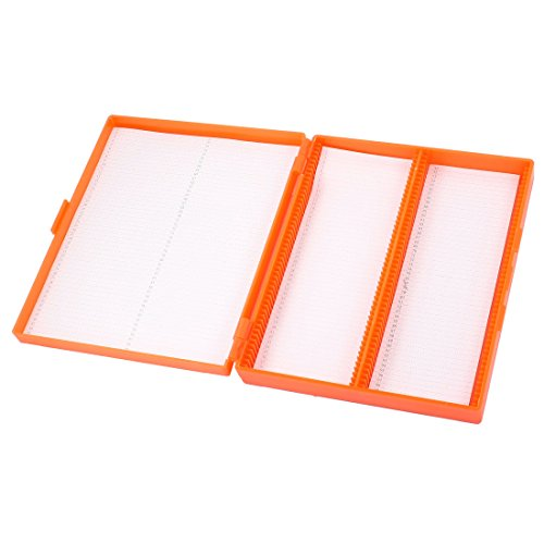 Orange Plastic Shell 100 Slots Rectangular Microscope Glass Slide Box