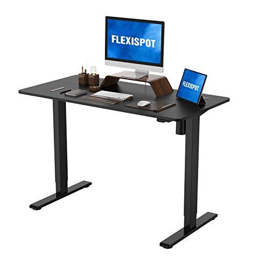 Flexispot Standing Desk Height Adjustable Desk Electric Sit Stand Up Desk Home Office Desks 48 x 24 Inches (Black Frame + Black Top)