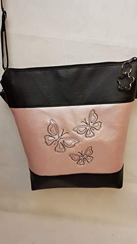 Handtasche Schmetterling rose metallic Umhängetasche Kunstleder Tasche mit Anhänger Frühling
