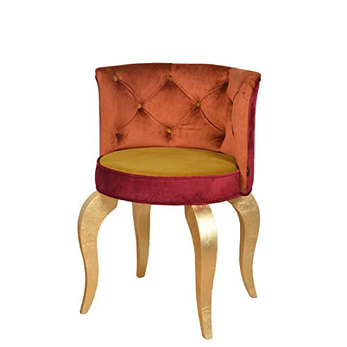 Petro Design Stuhl Luna Style Gold Samt Esszimmer Polsterstuhl Barock Schminktisch Schreibtisch Lounge Chesterfield