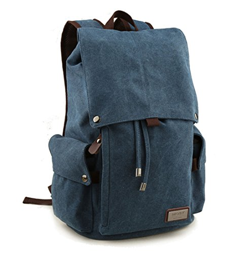 Retro-Segeltuch Rucksack Vintage-Rucksack Schultasche Reiserucksack Laptoprucksack Camping-Rucksack Unisex-Rucksack Lässige Daypacks mit Gepolsterte Tasche für Laptop (Blau)