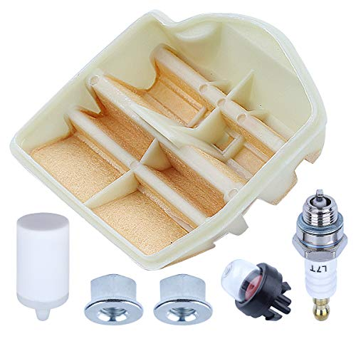 Adefol Chainsaw Air Filter Tune Up Kit For Husqvarna 445 450 Rancher 450 e II 445E II with Fuel Filter Spark Plug Primer Bulb Bar Nut Replacement Parts for 531309681 544080803 503443201