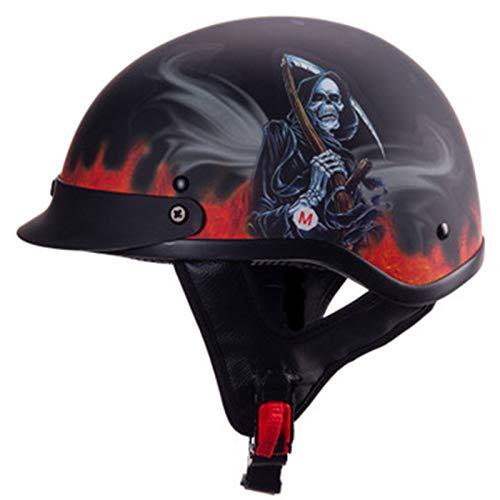 ABDOMINAL WHEEL Cascos de Motocicleta,Medio Casco de Moto con Gafas de Piloto,Certificación ECE Cascos Scooter Universal para Moto Medio Casco Abierto A,59~60cm
