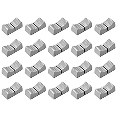 sourcing map 24mmx11mmx10mm Console Mixer Slider Fader Knobs Replacement for Potentiometer Gray Knob Black Mark 20pcs