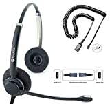 TruVoice HD-150 Professional Double Ear Headset with Noise Canceling Microphone & U10P Bottom Cable Works with Mitel, Nortel, Avaya Digital, Polycom VVX, Shoretel, Aastra, Digium + More
