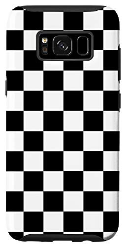 Galaxy S8 Checker Checkered Plain Black White Board Pattern Chess Desi Case