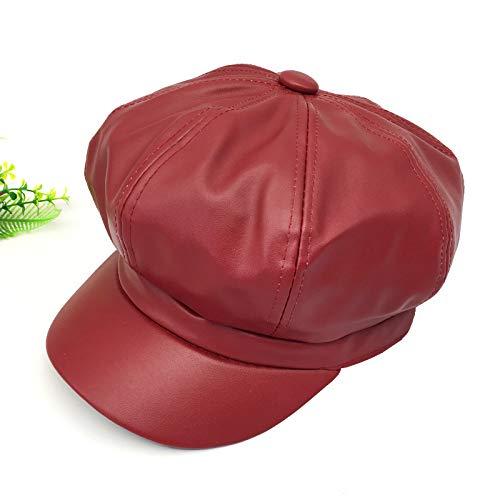 Sombrero Octogonal de Cuero para Mujer Otoño e Invierno Moda británica Moda de Primavera Coreana Sombrero de Cuero de Todo fósforo Boina de Pico