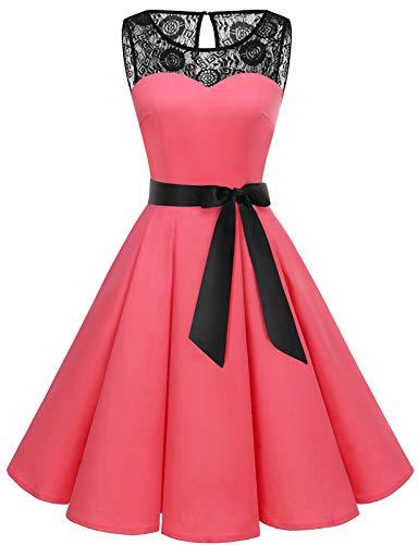 bbonlinedress bbonlinedress 1950er Ärmellos Vintage Retro Spitzenkleid Rundhals Abendkleid Coral S