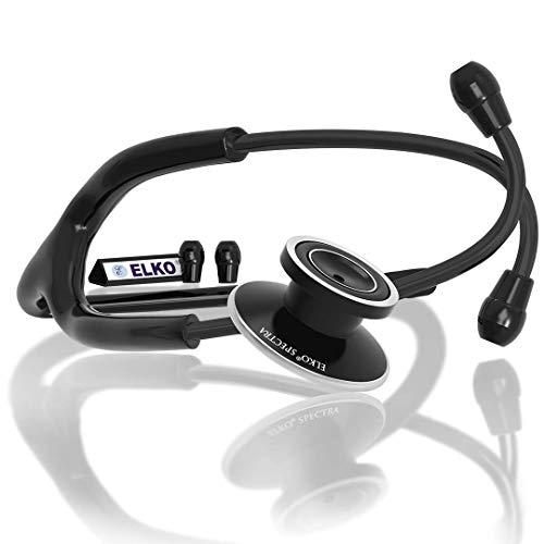 ELKO EL-030 SPECTRA Aluminium Head Stethoscope for Doctors & Students, Black Edition