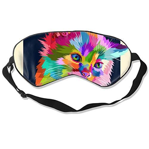 Color The Cat Schlafmaske für Damen und Herren, seidig weich, Schlafmaske, Schlafmaske, Augenbinde, Schwarz