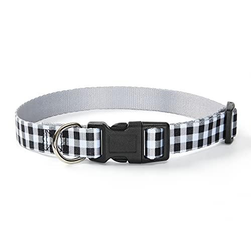 Mile High Life   Patrón de líneas en zig Zag   Tela de algodón polivinílico Suave   Collar para Perro con Hebilla Negra y Anillo en D