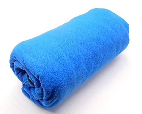 フリース インナー シュラフ 寝袋 封筒型 ブランケット 収納バッグ付き アウトドア 車中泊 登山 防寒 (ブルー)
