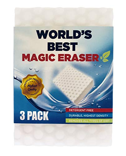 Magic Eraser Sponge 3 Pack Detergent Free Cleaning Power for All Type of Dirt or Stains Ideal for Hard Water Stains for Sinks Metal Glass Walls Carpet Fabric Leather Ideal for Multipurpose Cleaning