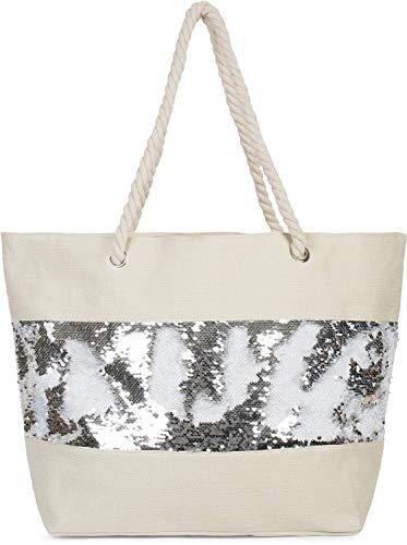 styleBREAKER Damen XXL Strandtasche mit Wende Pailletten und Reißverschluss, Schultertasche, Shopper 02012280, Farbe:Beige/Weiß-Silber
