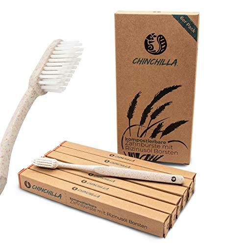 Chinchilla® Nachhaltige Zahnbürsten | 6er-Pack | biologisch abbaubar, vegan & BPA frei | Alternative zu Bambus Zahnbürste, Zahnbürste aus Plastik, Holz Zahnbürste | für gesunde & weiße Zähne
