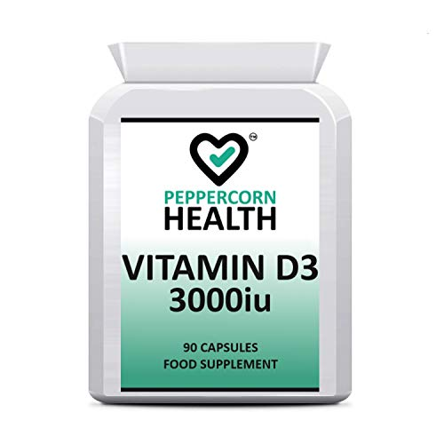 VIT D 3000iu, 90 Capsules, Help Maintain Bones, Teeth and Muscle Function. VIT D3 can Help contribute to The Normal Function of The Immune System. Peppercorn Health