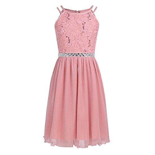 iEFiEL Festliches Kleid Mädchen Kinder Spitzen Kleid Hochzeit Prinzessin Kleider Tüll Festzug Kleid Blumenmaedchenkleid kurz Partykleid Koralle Rosa 164