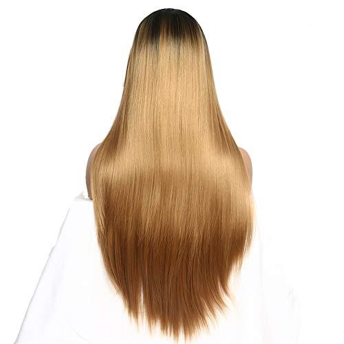 Lange Gerade Perücke Lace Front Perücke Locken Geschichtetes Haarschnitt Kunsthaar 12-30 inch Perücke Women's Natürliche Volle Gerade Lange Lace Front,Gold30in