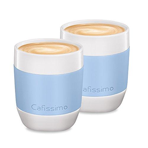 Tchibo Cafissimo Becher oder Tassen aus Porzellan mit Silikonmanschette, 2er Set (XL Becher, hellblau)