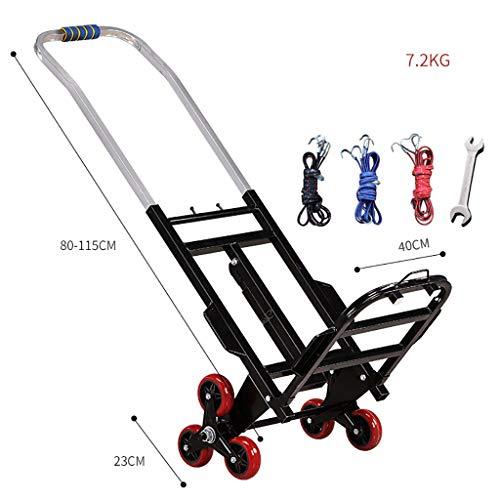 XXHDEE boodschappentrolley, klimbaar, inklapbaar, draagbaar, van aluminium, koning voor aanhangers, opslag, mand, stapelstoel