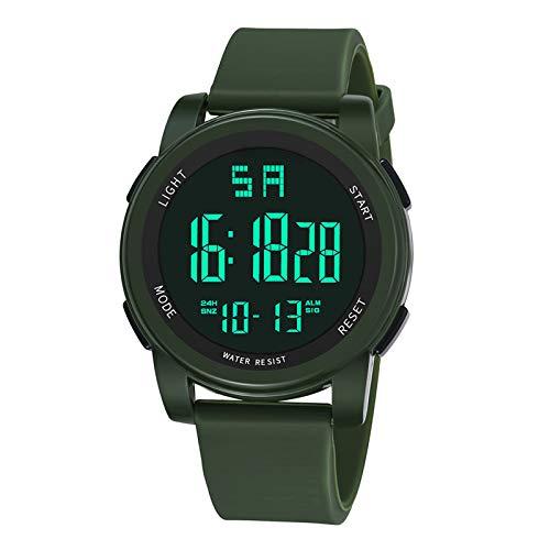 Reloj deportivo, reloj digital, relojes deportivos impermeables de 30 m para hombres, reloj inteligente deportivo luminoso para hombre, reloj de pulsera con calendario de cronómetro 12H / 24H (negro