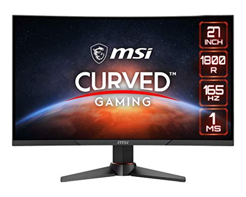 MSI Optix MAG270VC2 FHD 1800R Curvature 16:9 Aspect Ratio Non-Glare Super Narrow Bezel 1ms 1920 x 1080 165Hz Refresh Rate Tilt/Swivel/Height Adjustment AMD FreeSync 27' Curved Gaming Monitor, Black