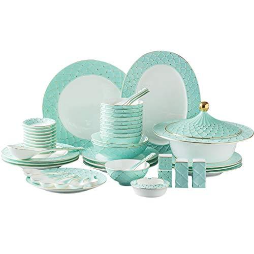 Linah Juego de Platos Servicio de vajilla de cerámica de 48 Piezas para 10 Cena de patrón de Porcelana, Sopa, Plato de Ensalada, Juego de Cuenco Vajilla Simple