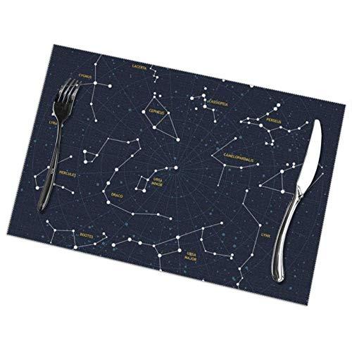 tyui7 Mantel Individual Resistente al Calor de poliéster Constellation para Cocina, Comedor, Juego de 4