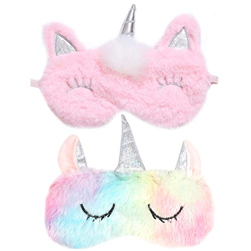 Antifaz Unicornio BESTZY 2 piezas Máscara para Dormir Unicornio Antifaz para Dormir para Niñas Travel Eye Cover