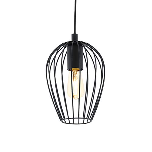 EGLO Pendellampe Newtown, 1 flammige Vintage Pendelleuchte, Retro Hängelampe aus Stahl, Farbe: schwarz, Fassung: E27, Ø: 16 cm