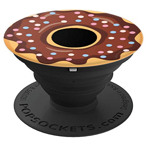Donut Dounat Donout Essen Food Schoko Schokolade Schwarz - PopSockets Ausziehbarer Sockel und Griff für Smartphones und Tablets