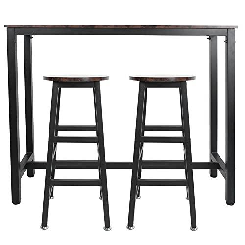 EVTSCAN bartafel en stoelen set, barset apparatuur 1 bartafel en 2 barkrukken voor banketbar Dinerbenodigdheden