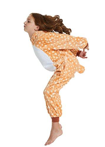 ABENCA Kids Deer Onesie Pajamas Christmas Halloween Animal Cosplay Sleepwear Costume,Deer,130
