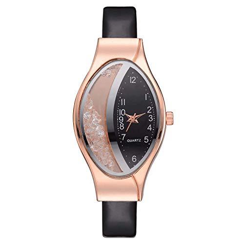 Guotail Damenkralze Wrist Watch mit Oval Dial Rhinestone Fashionable Watch for Elegant Ladies,A