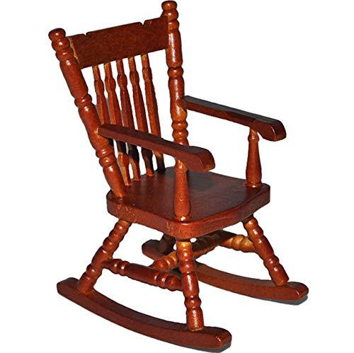 alles-meine.de GmbH Schaukelstuhl Stuhl aus dunkel Holz - Maßstab 1:12 - Miniatur für Puppenstube Puppenhaus - Nostalgie Wohnzimmer Möbel Schaukelstühle