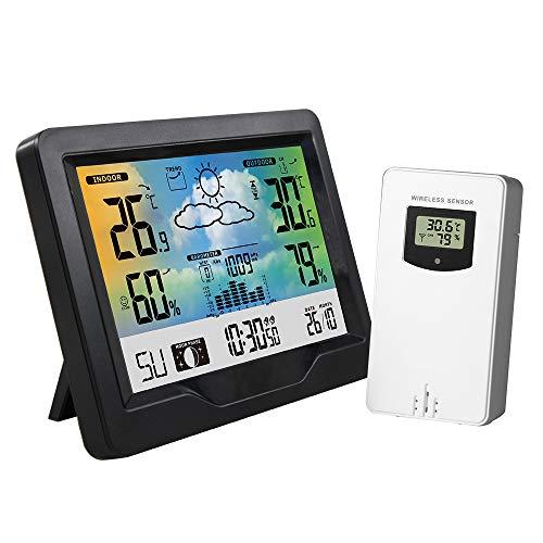 Verdelife Wetterstation, buntes Display, Mondphase, Schlummerfunktion, Komfort-Luftfeuchtigkeitsanzeige, Barometer, 3 Kanäle, RF für Zuhause, Büro, Schlafzimmer, Nachttisch