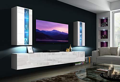 Home Direct Sztokholm N20 1A Modernes Wohnzimmer Wohnwände Wohnschränke Schrankwand Schwarz Weiß Hochglänzend (AN20-18W-HG2 1A (weiß), Möbel ohne LED)