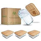Pura Vida® Frischhaltedosen aus Glas [3er Set] - 2 Fächer - Glasbehälter mit Deckel aus nachhaltigem Bambus - plastikfreie Meal Prep Boxen - Vorratsdosen Glas mit Deckel - Glasschalen mit Deckel