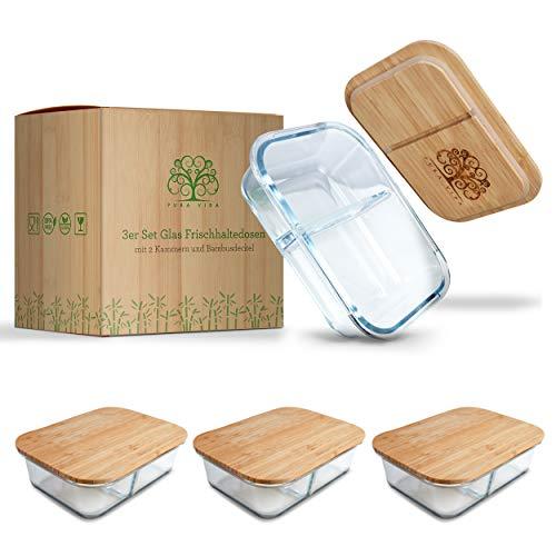 Pura Vida - Glas Frischhaltedosen - 3 x Size L - 1040 ml - 2 Kammern zur getrennten Aufbewahrung von Speisen - Meal Prep Boxen mit Deckel aus nachhaltigem Bambus - plastikfreie Glasbehälter