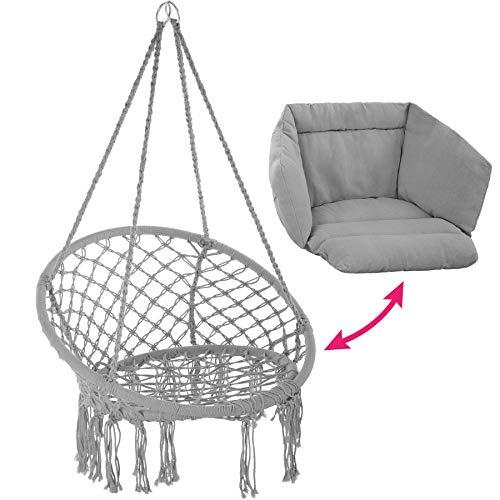 TecTake 800708 Hängesessel zum Aufhängen, Indoor und Outdoor, Ø Sitzfläche: ca. 60 cm, robuste Konstruktion, inkl. großem weichem Kissen - Diverse Farben - (Grau | Nr. 403204) - 7