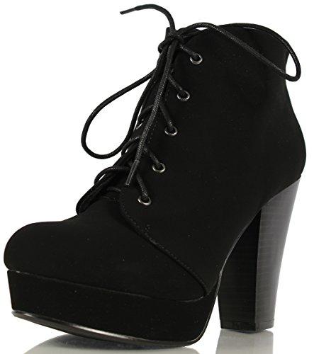 Soda Agenda-5 Womens Chunky Heel Lace Up Booties-Black-7.0