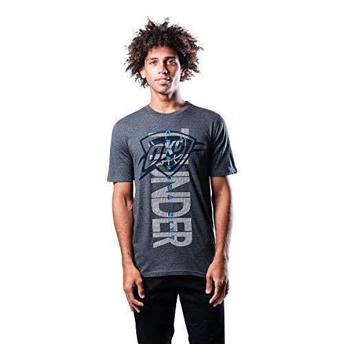 Ultra Game NBA Oklahoma City Thunder Mens Upright Logo Short Sleeve Tee Shirt, Heather Charcoal, Medium