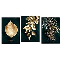 抽象的な黄金の植物の葉絵壁ポスターモダンなスタイルのキャンバスプリント絵画アート通路リビングルームユニークな装飾-40x50cmx3フレームなし
