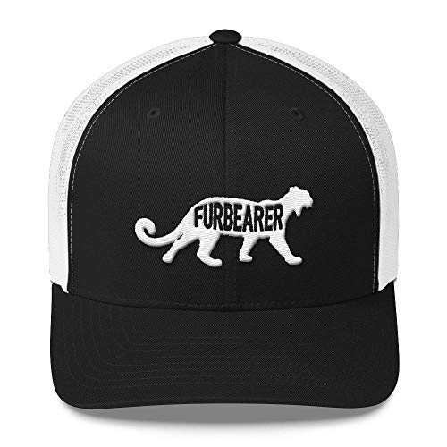 Hueco Gear Mountain Lion Furbearer Trucker Snap Back Mesh Hat- Only The Best Gear for The Hunting, Fishing, and Outdoorsman Black/White