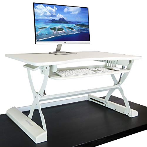 "Standing Desk Adjustable Height Sit to Stand Up Desk Riser | 37 in Wide Fits 2 Monitors with Retractable Keyboard Tray (White, 37""Wide)"