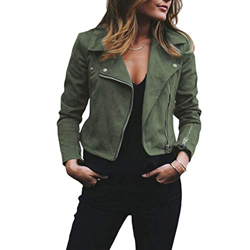 snaked cat Women Leather Jacket Coat with Zipper Suede Flight Jacket Zip Up Biker Casual Tops Clothes (Army Green, S)