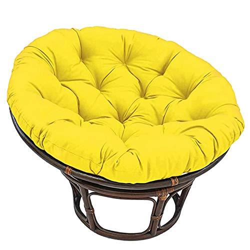 Cojín para silla Papasan, para exteriores, grueso, con nido de huevo, impermeable, para exteriores, para muebles de interior y exterior (silla no incluida), amarillo, 110 x 110 cm