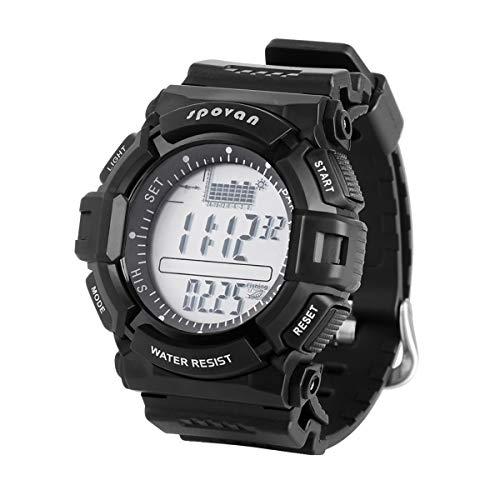 ZMJY Herren Sportuhr, Digital Höhenmesser Barometer Kompass Stoppuhr Weltzeit Wetter Vorhersage wasserdichte Armbanduhren Angeln,Gray