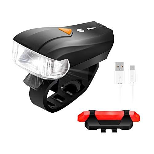 SGODDE Kit d'Éclairage Vélo Rechargeable, Lampe de Vélo Avant et Arrière LED Puissant, 4 Modes de Luminosité, Bicyclette Phare Blanc et Feu Arrière Rouge Imperméable pour VTT VTC Cyclisme