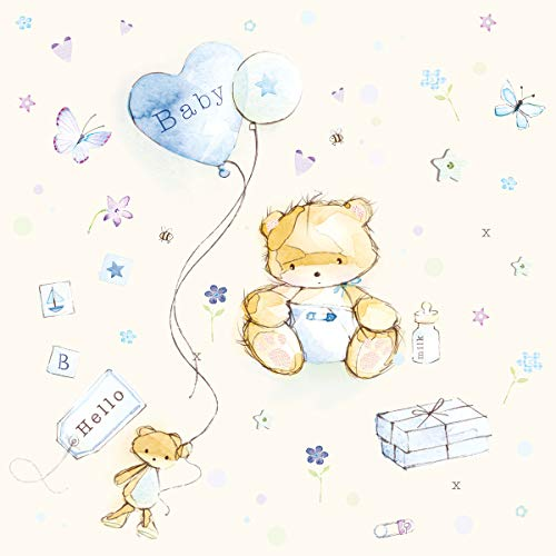 20 servetten knuffelig babydesign jongens/baby/geboorte/doop 33x33cm